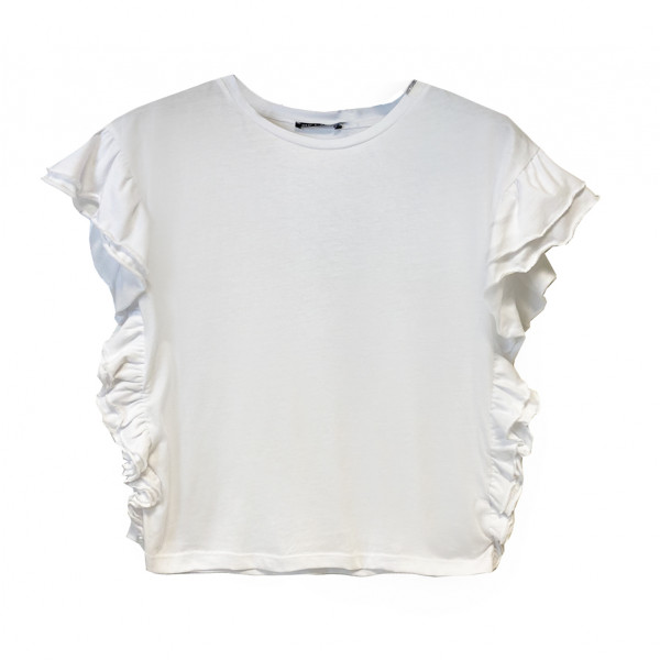 T-shirt donna rouches in jersey bianco