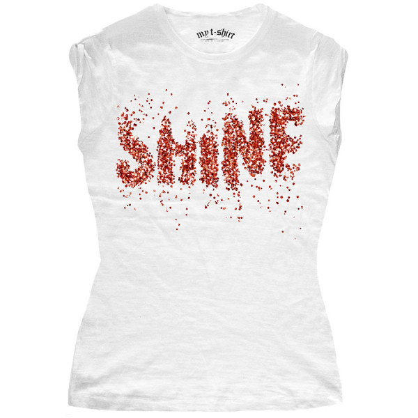 T-shirt malfile'grafica girl shine pois glitter bianco