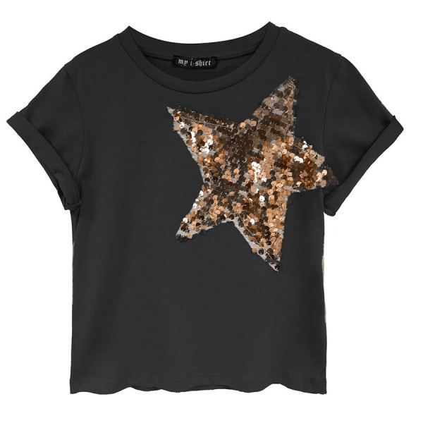 T-shirt m/c girl jersey stelle paillettes spalle bronzo