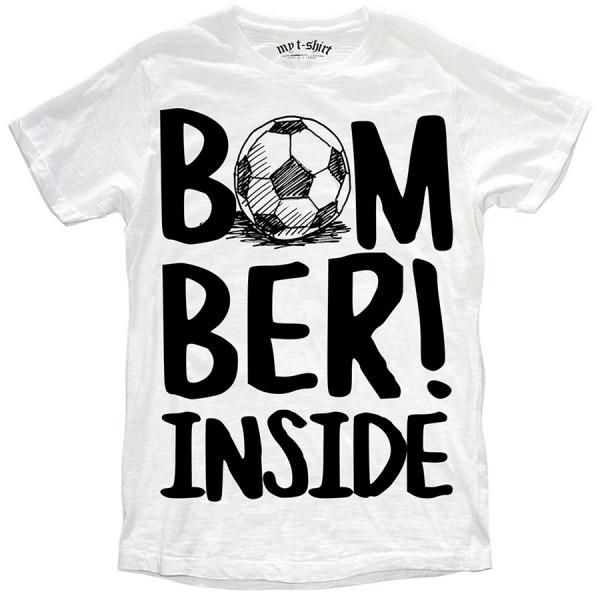 T-shirt malfile'grafica uomo bomber inside bianc