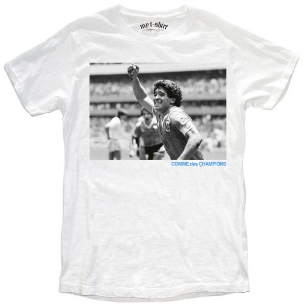 T-shirt malfile'grafica uomo comme maradona bianco