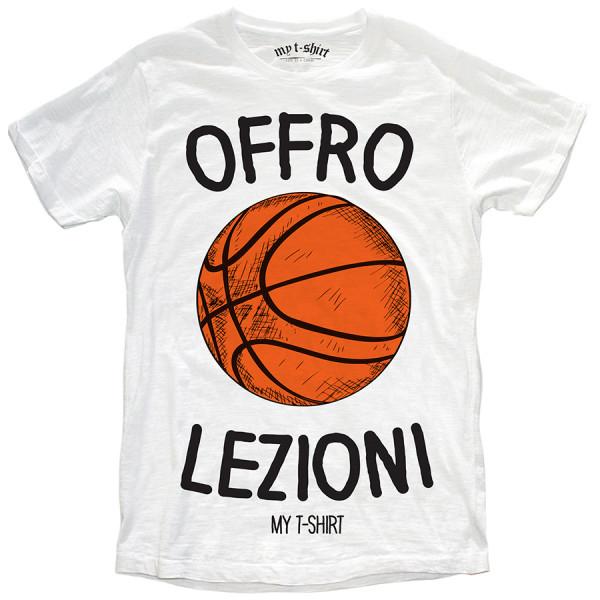 T-shirt malfile' grafica uomo offro lezioni basket bian