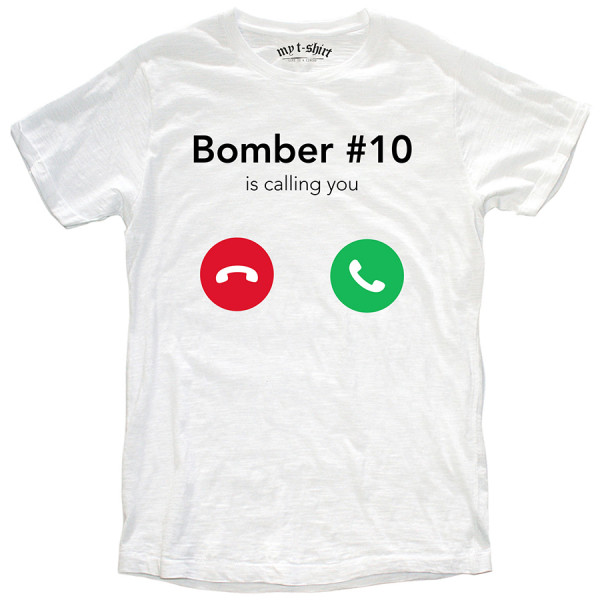 T-shirt malfile'grafica uomo bomber is calling bianco