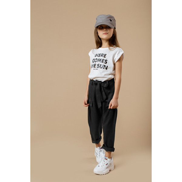 Pantalone cargo girl tencell twill nero