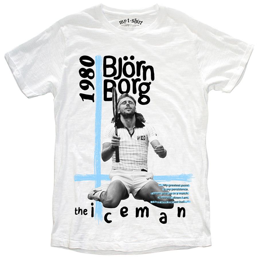 T-shirt malfile'grafica man the iceman bianco