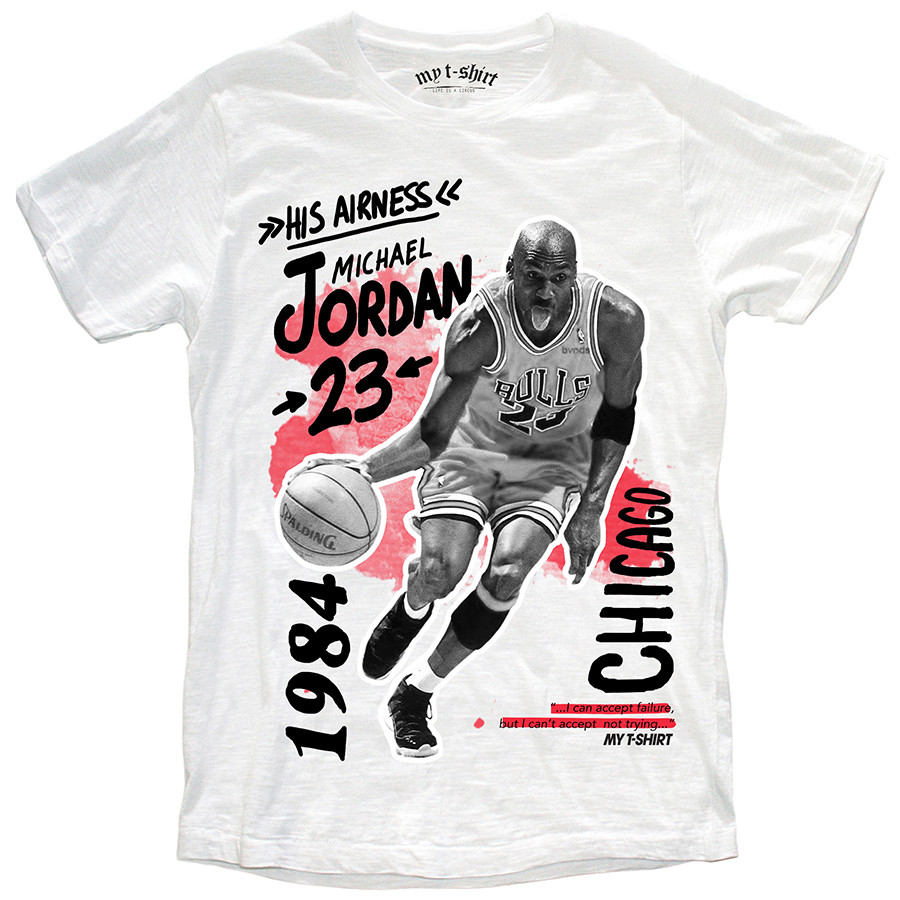 T-shirt malfile'grafica man his airness bianco