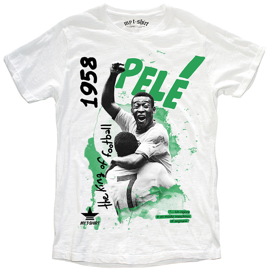 T-shirt malfile'grafica man the king of football bianco