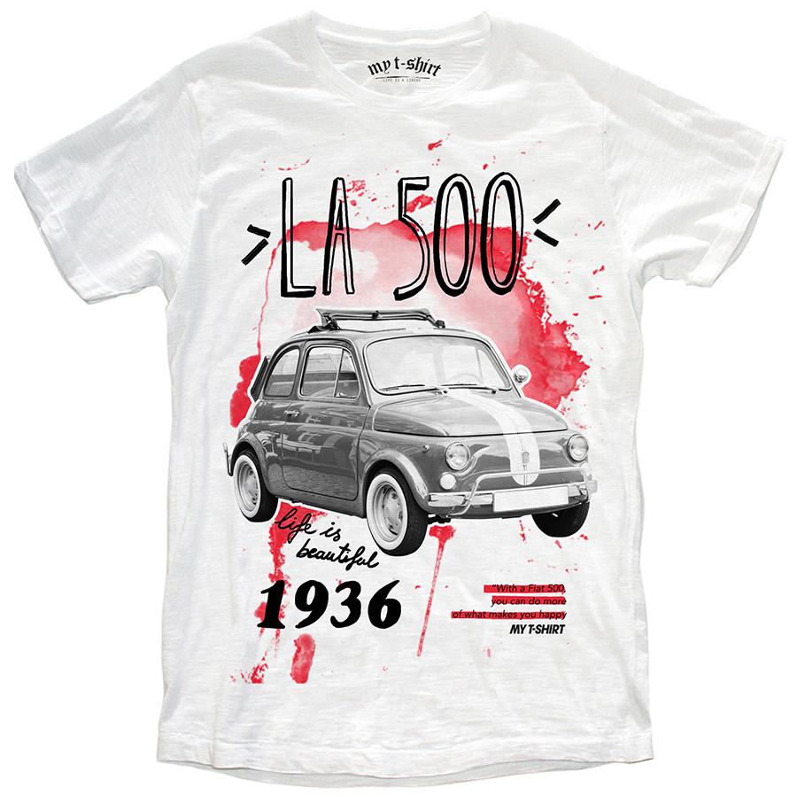 T-shirt malfile'grafica man la 500 bianco