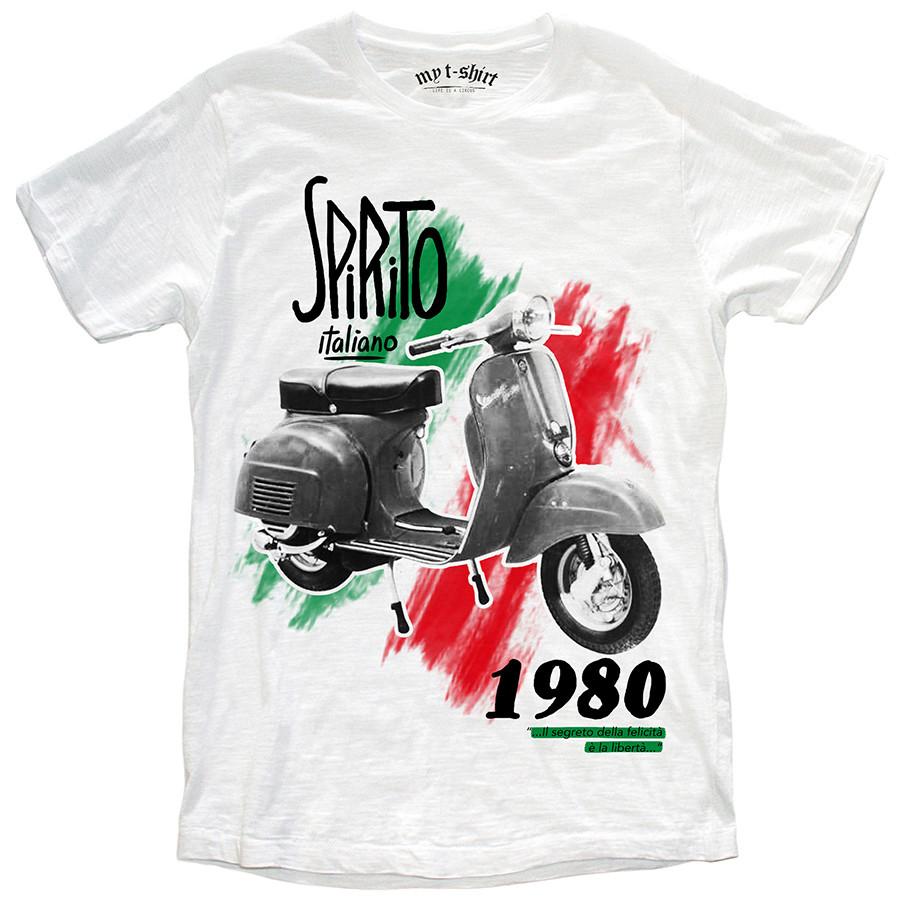 T-shirt malfile'grafica man spirito italiano bianco