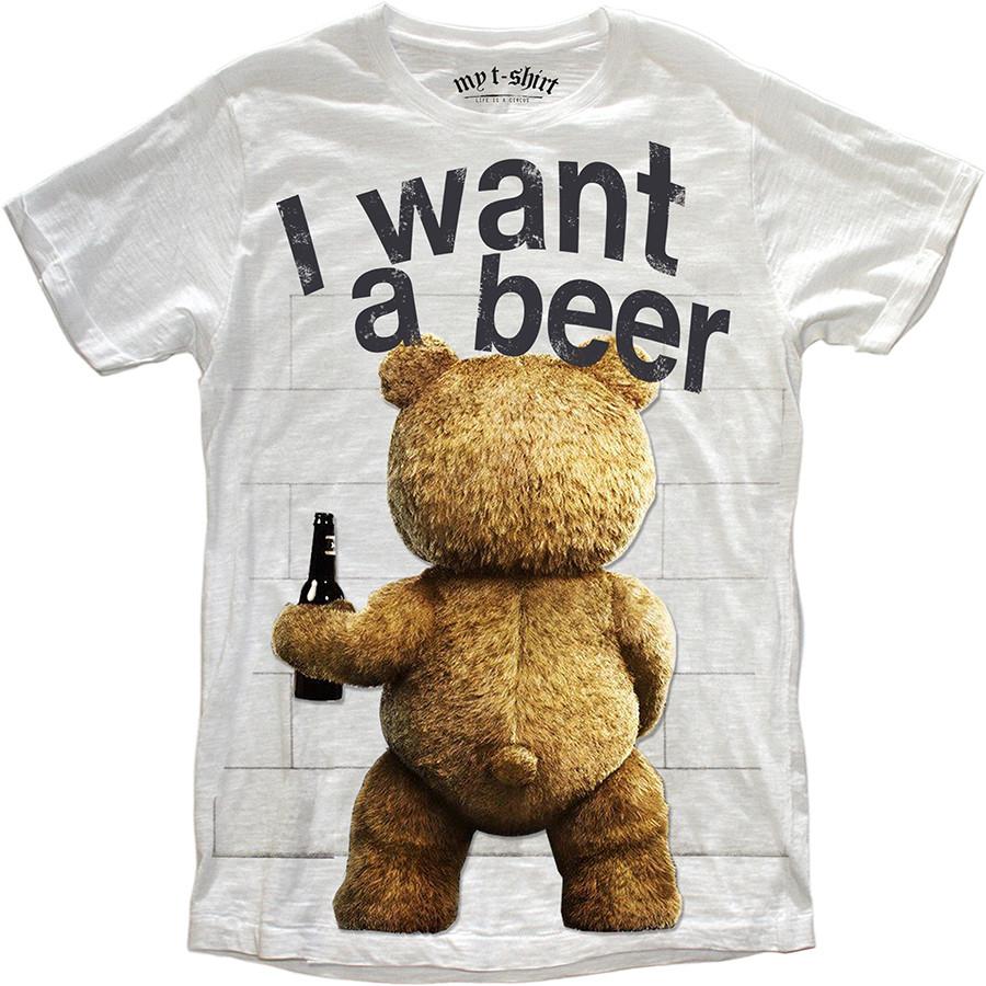 T-shirt malfile'grafica boy teddy bear bianc