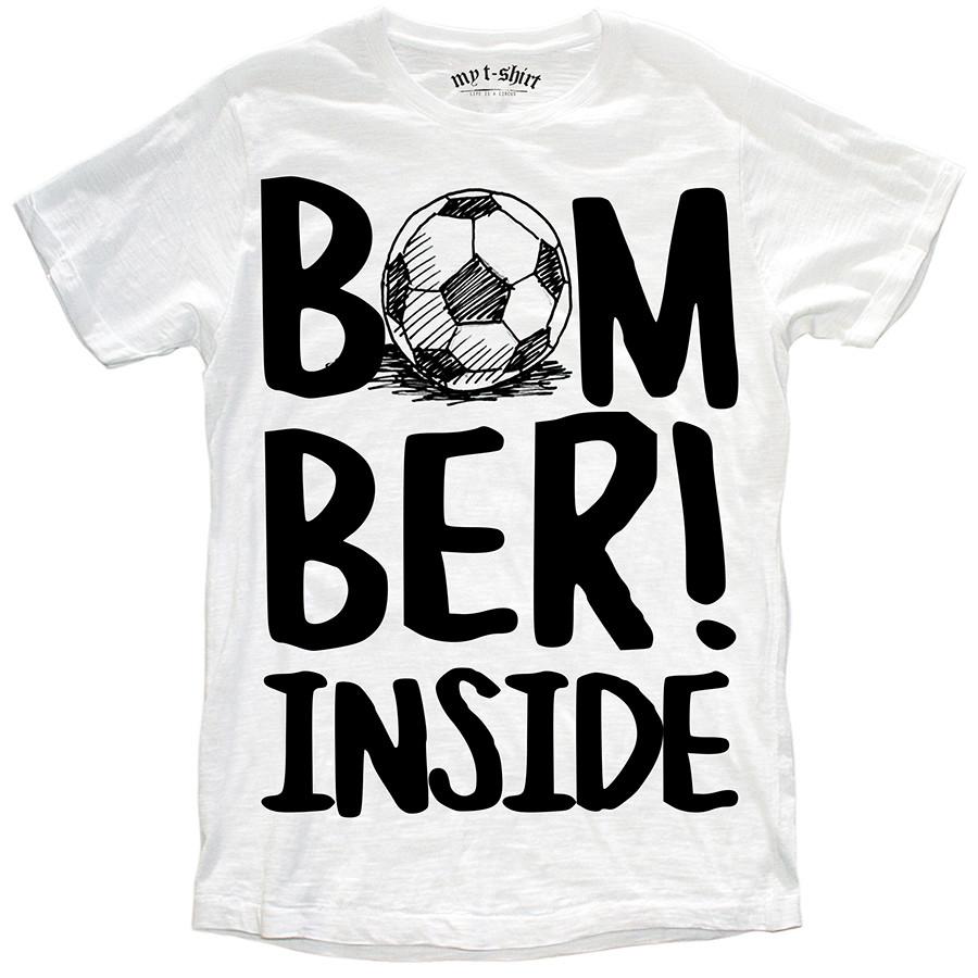 T-shirt malfile'grafica boy bomber inside bianc