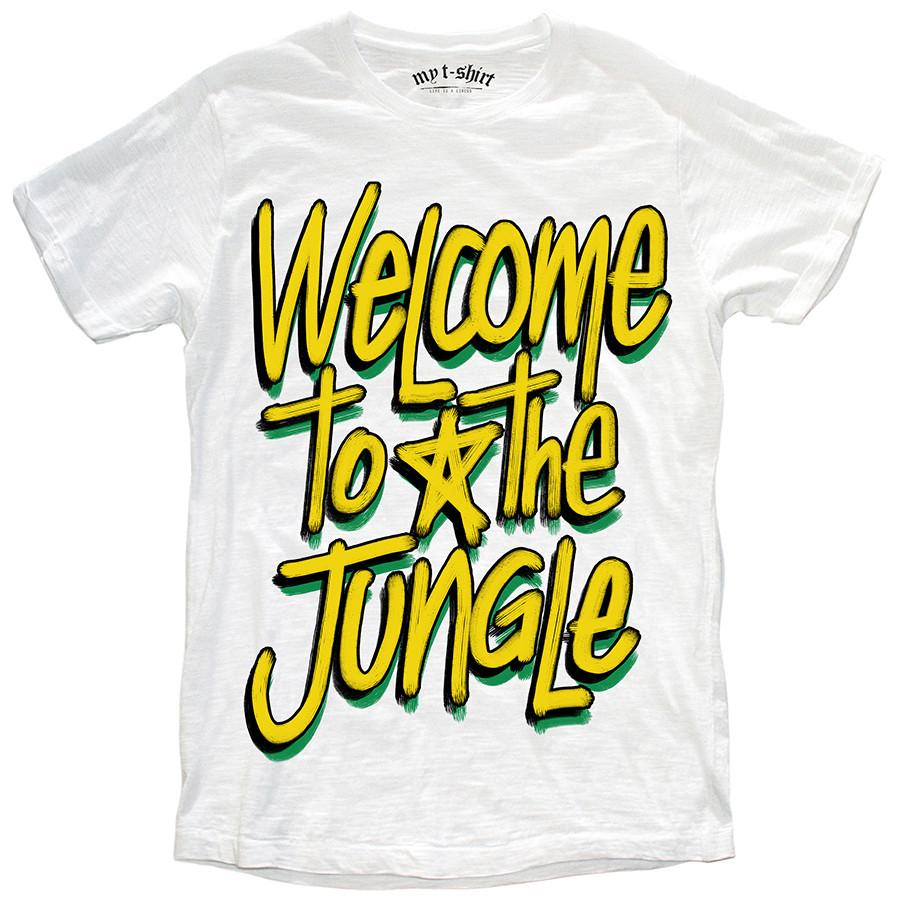 T-shirt malfile' grafica boy welcome to the jungle bian