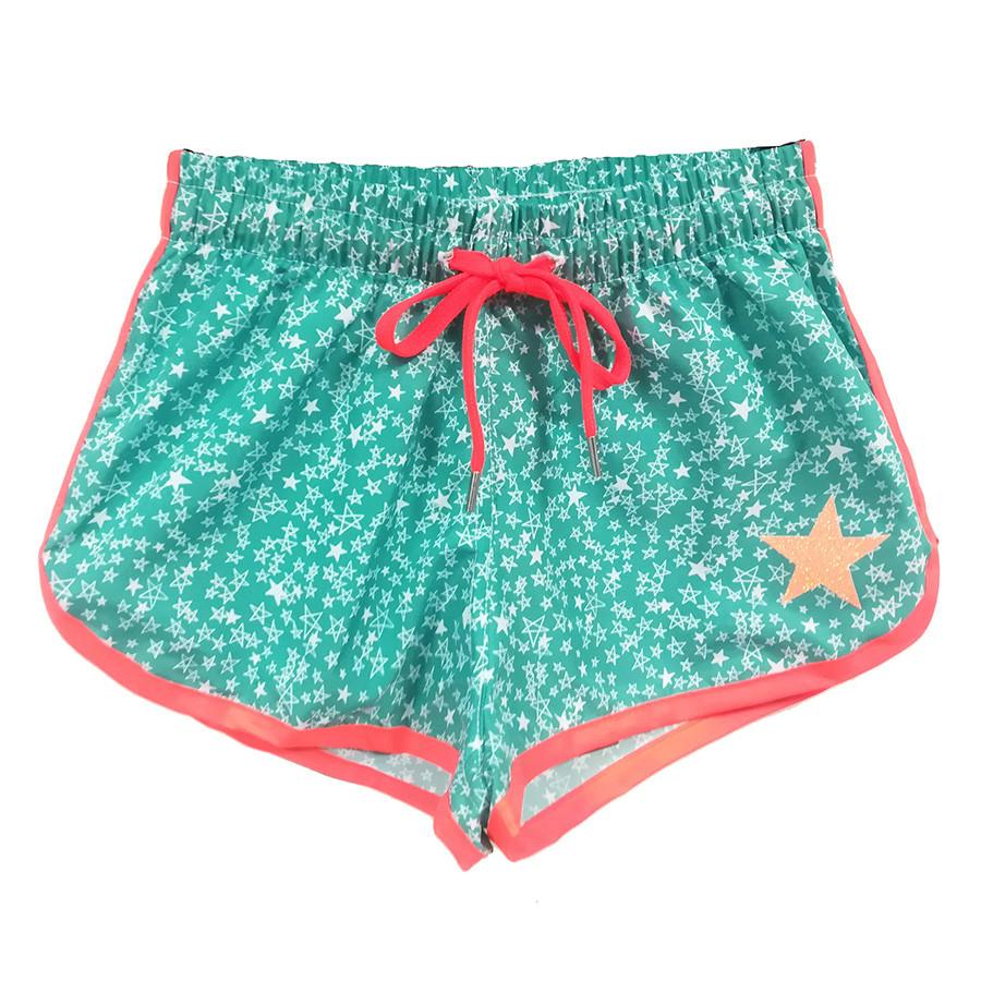 Short beach girlin nylon all over st.verde acqua/s