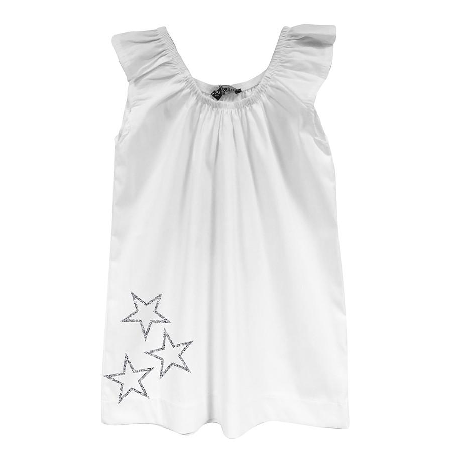 Blusa girl arricciata popeline stelle glitter bianco