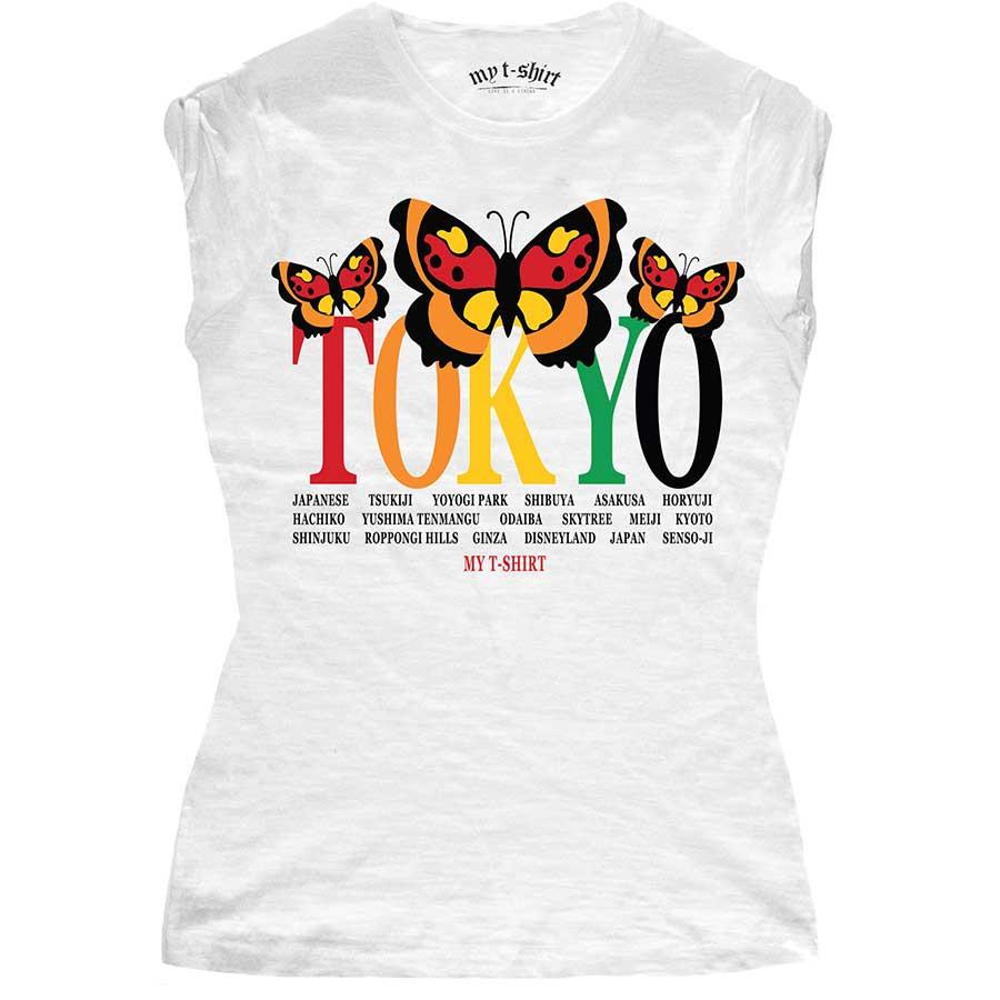 T-shirt malfile' grafica girl tokyo butterfly bianc