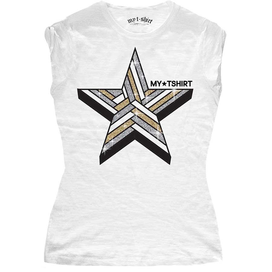 T-shirt malfile' grafica girl star 3d glitter bianc