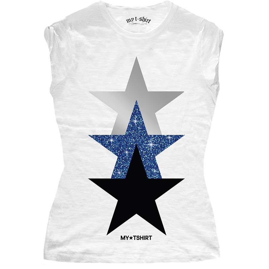 T-shirt malfile' grafica girl three stars glitter bianc