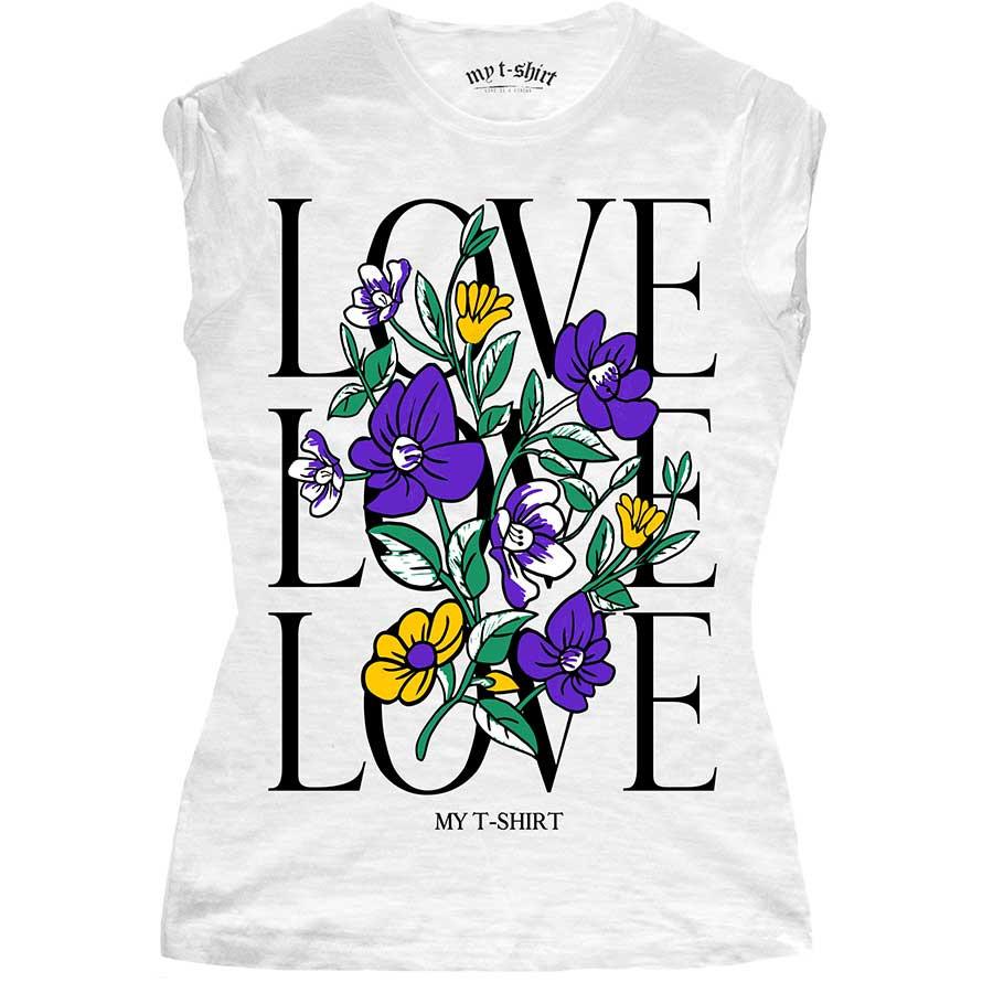 T-shirt malfile' grafica girl love love love flower biaco