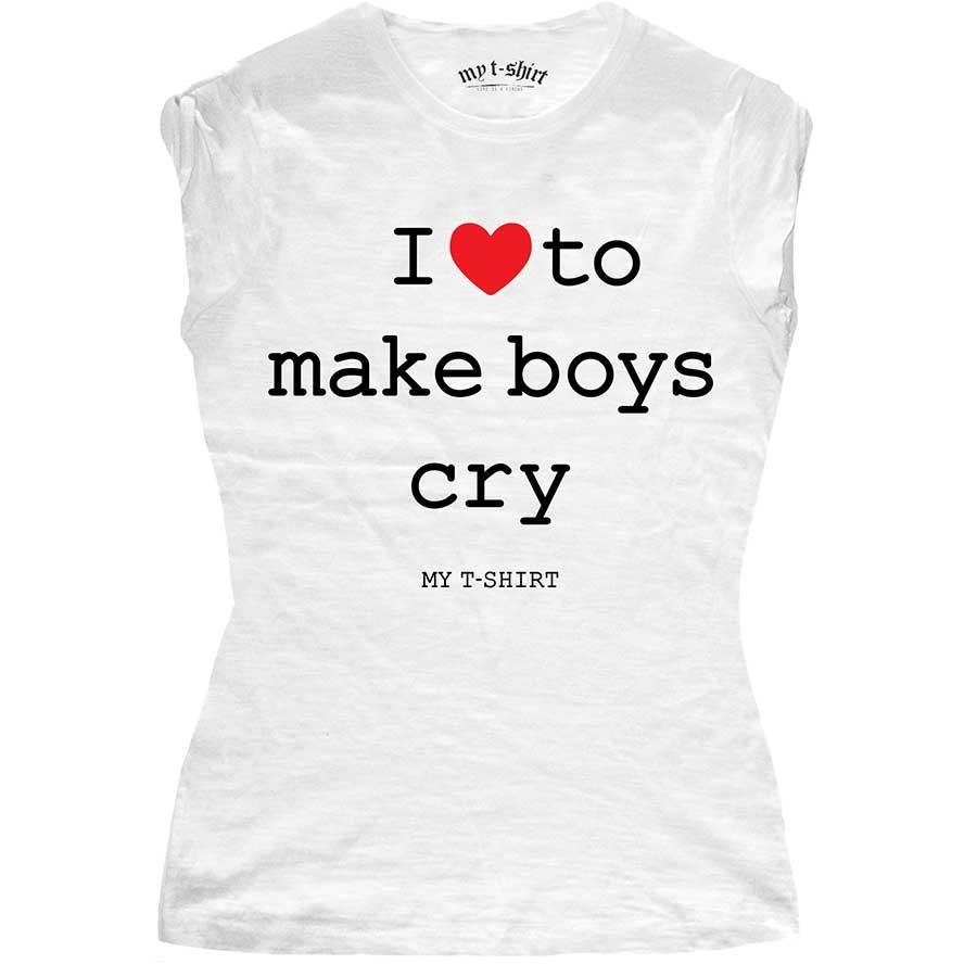 T-shirt malfile' grafica girl i love to make boys cry b