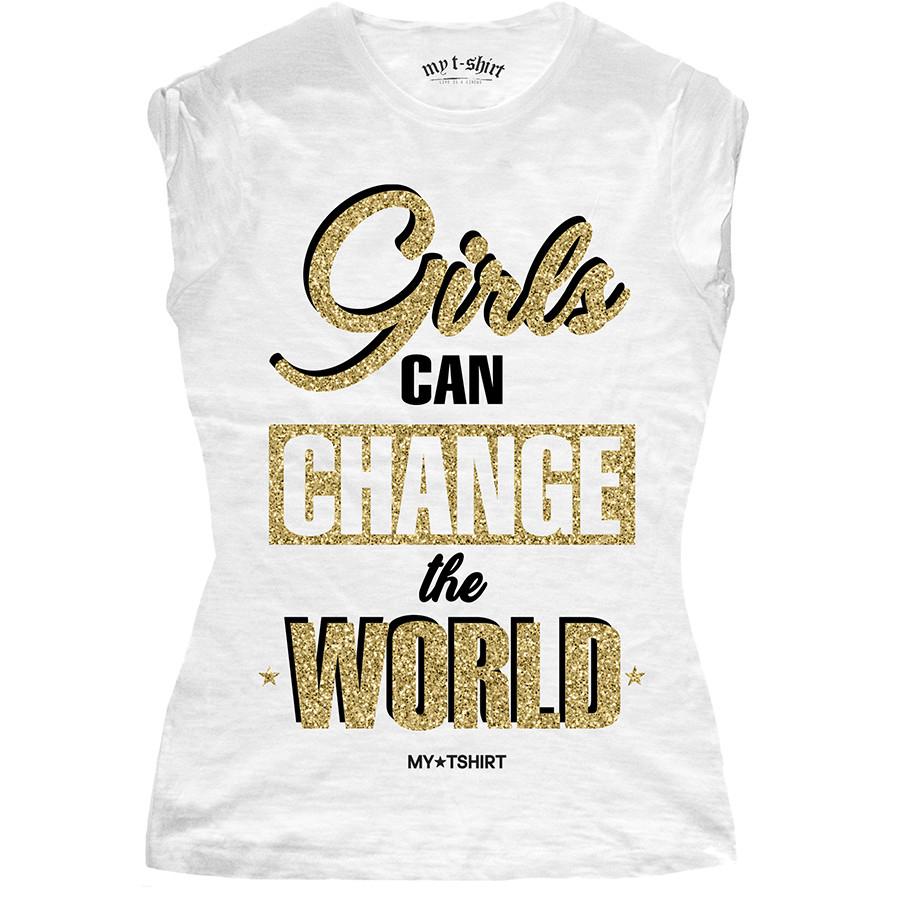 T-shirt malfile' grafica girl girls can change glitter