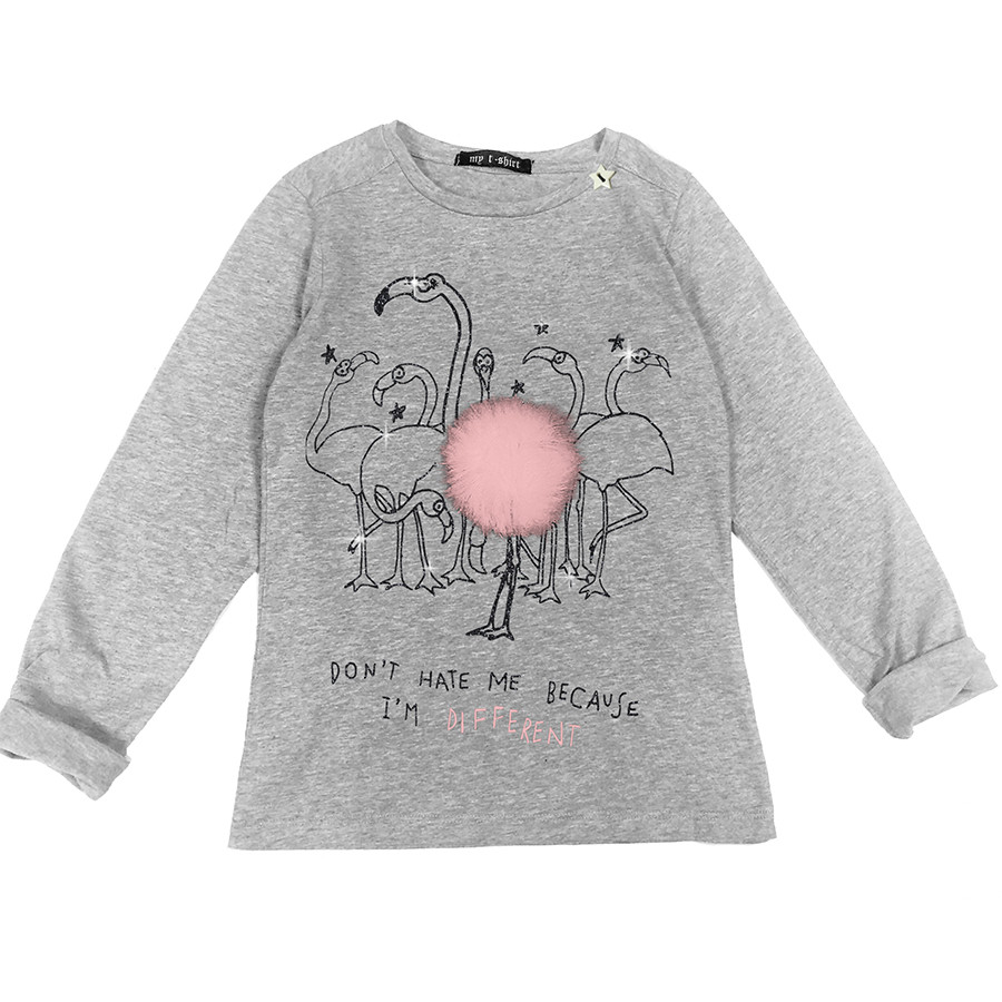 T-shirt baby m/l t.unita flamingo pompon grigio melang