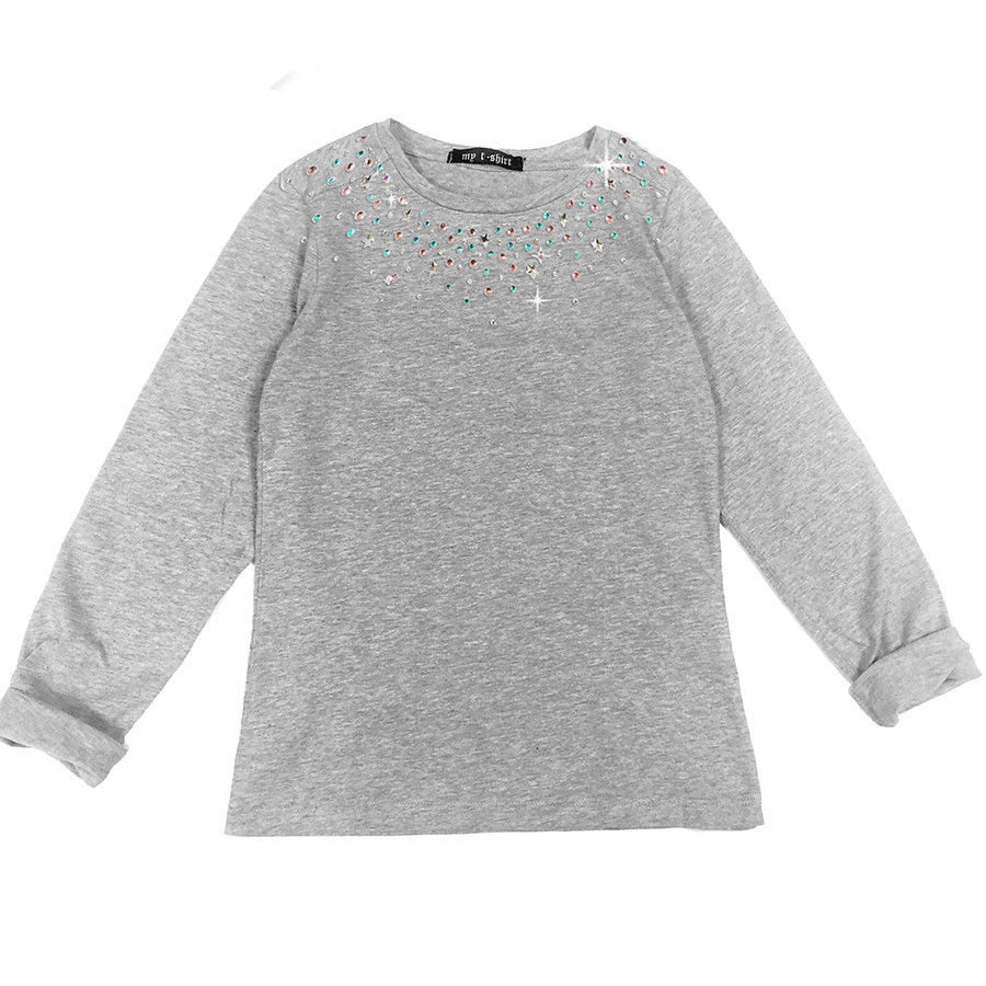 T-shirt baby m/l t.unita scollo strass grigio melang