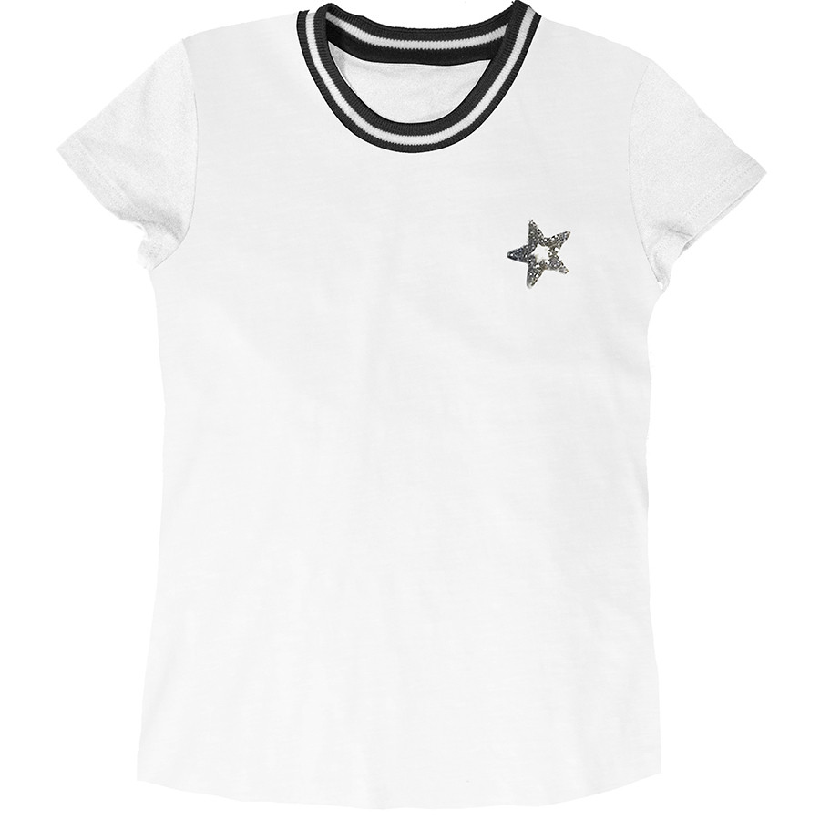 T-shirt m/c jersey c/scollo costina rigata patch m+stel