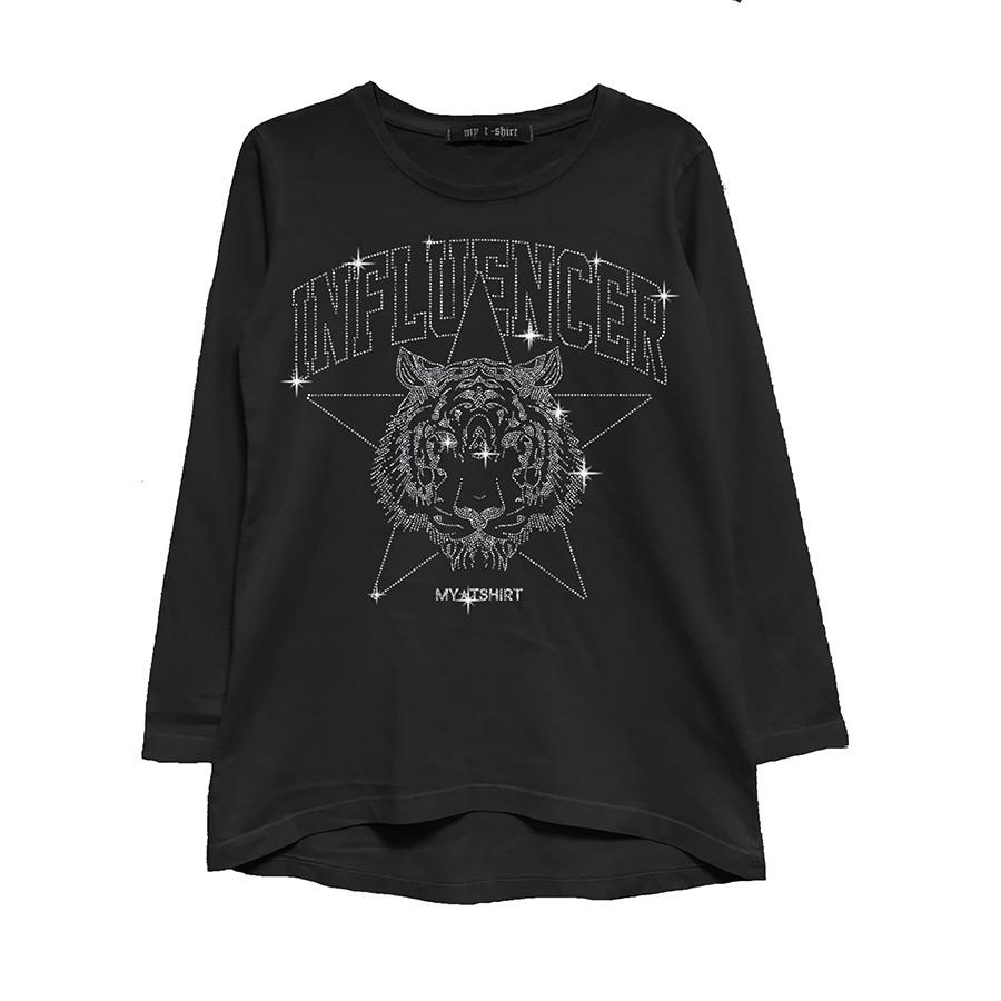 T-shirt asimmetrica m/l influencer glitter ner