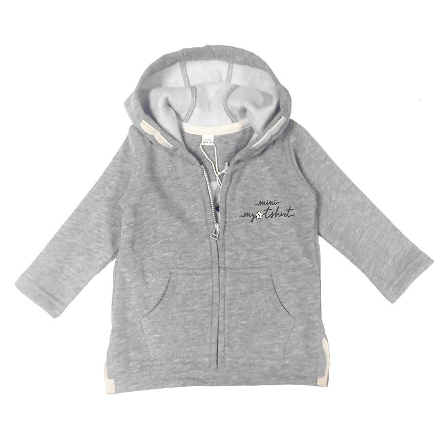 Felpa baby zip e capp. mini my t-shirt grigio chiaro m