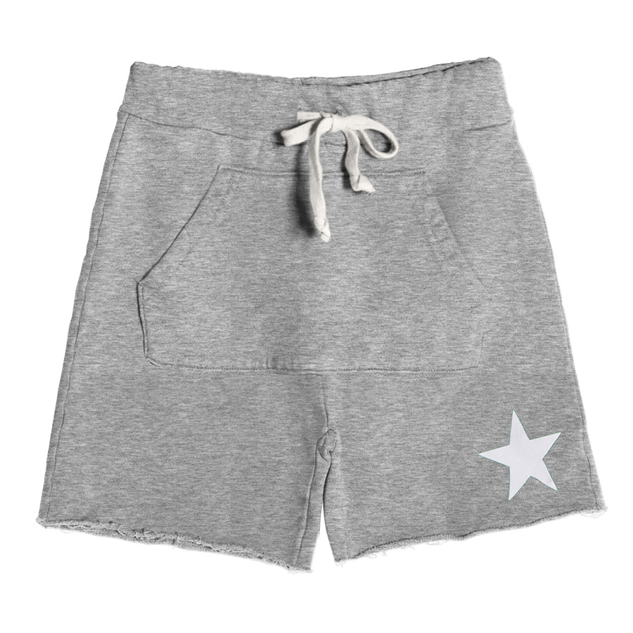Short turca unisex kids felpa stella bianca grigio chia
