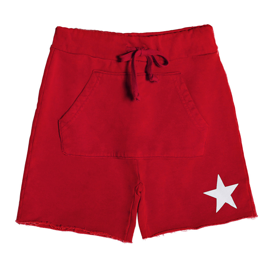 Short turca unisex kids felpa stella bianca rosso inten