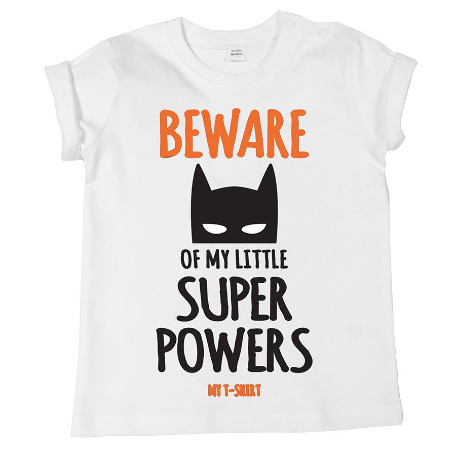T-shirt baby m/c organica super beware bianc