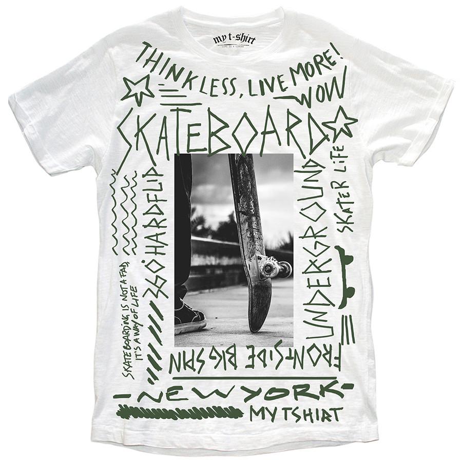 T-shirt malfile' grafica uomo skateboard graffiti bianco