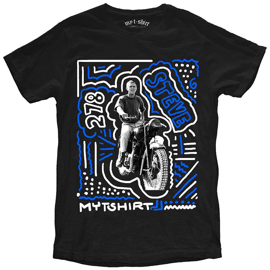 T-shirt malfile' grafica uomo mcqueen sketch nero