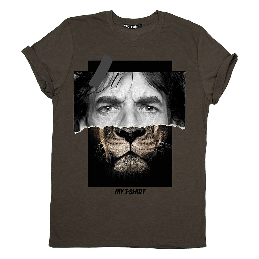 T-shirt m/c uomo jagger lion cioccolato