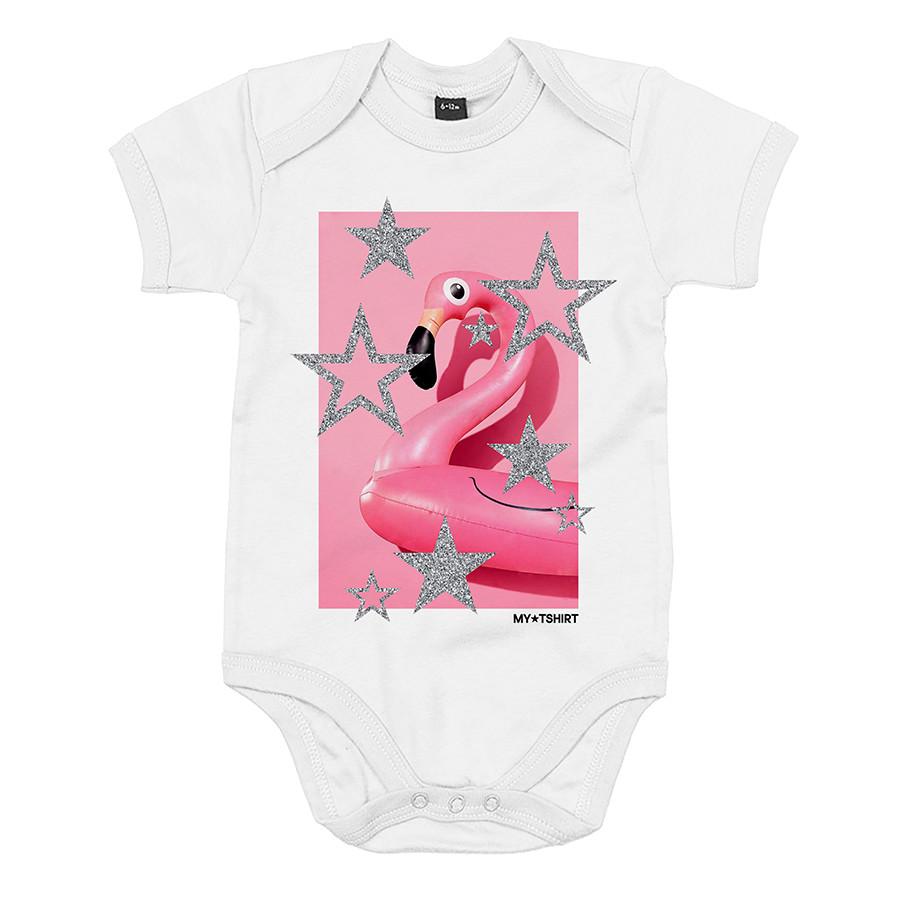 Body baby m/c st.flamingo stars bianco
