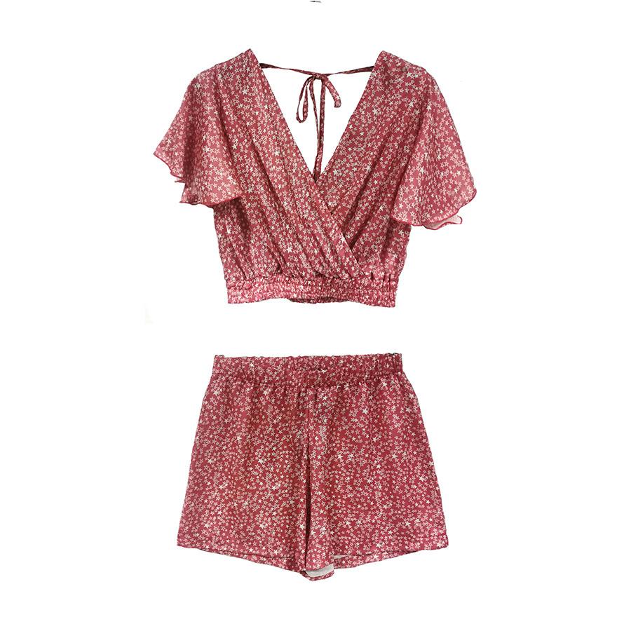Completo donna blusa con rouches e shorts stampa kenya / stelline
