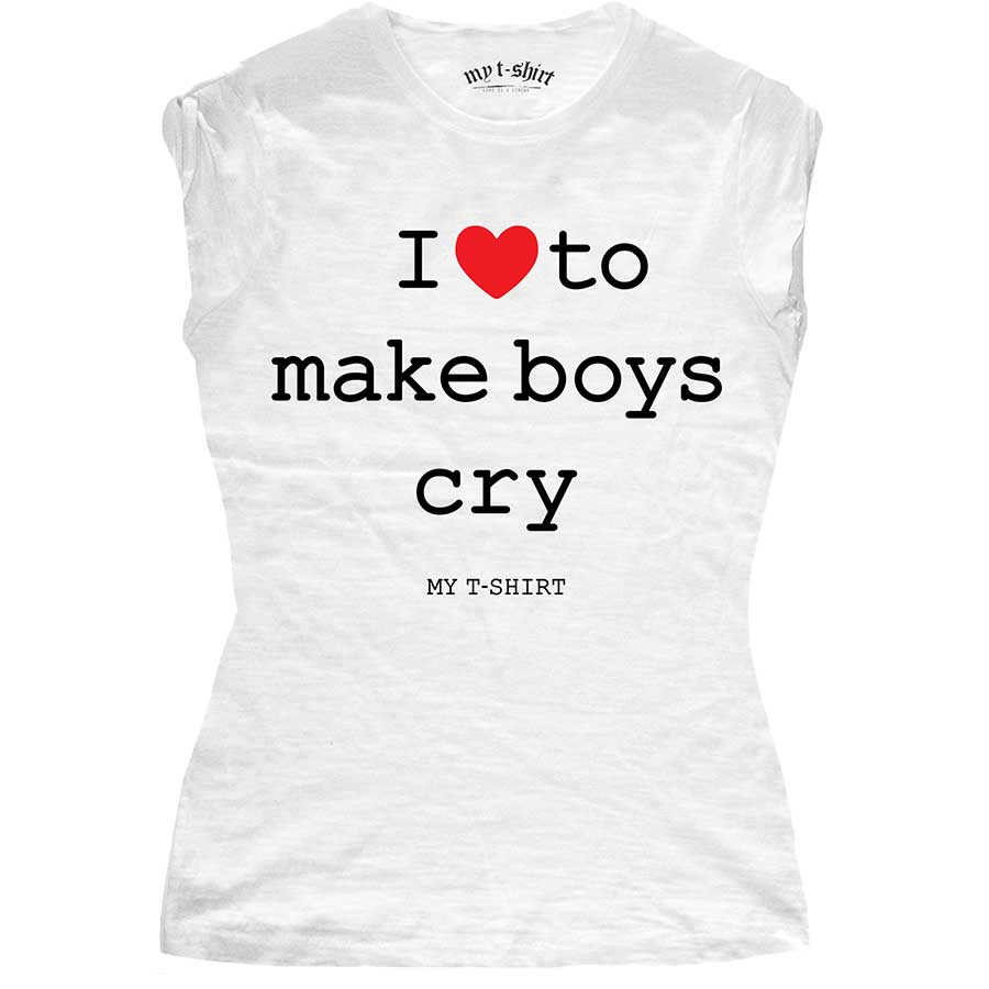 T-shirt malfile' grafica donna i love to make boys cry