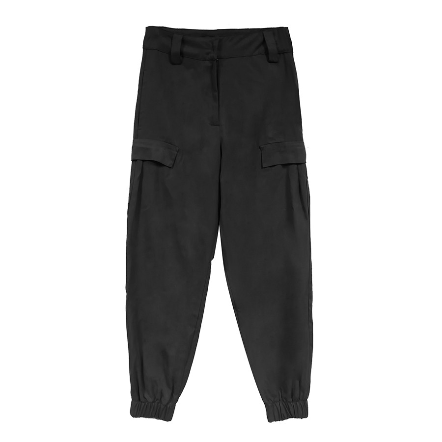 Pantalone cargo donna tencell twill nero