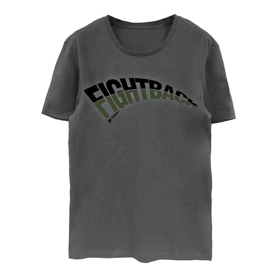 T-shirt m/c organica uomo con stampa - fightback convoy grey
