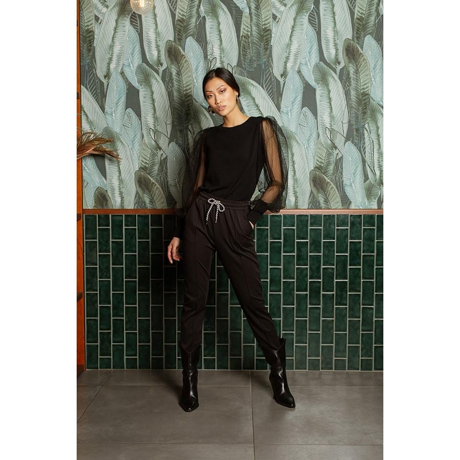 Pantalone donna punto milano con nervatura nero