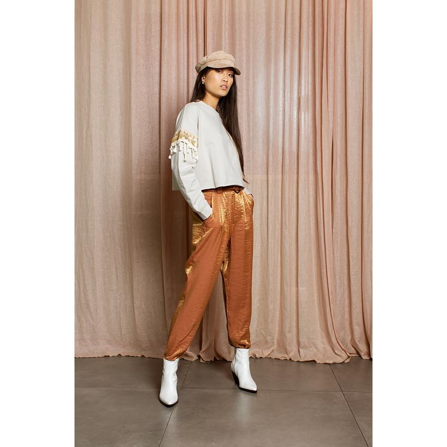 Pantalone donna con pences tessuto lucido rame cangiante