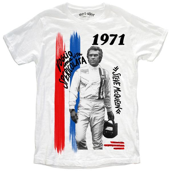 T-shirt malfile' grafica boy vita spericolata bianc