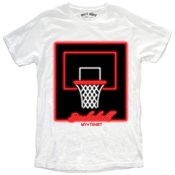 T-shirt malfile' grafica boy basket ball neon bianc