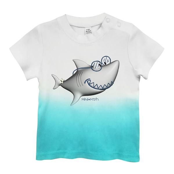 T-shirt baby m/csfumata st. shark occhiali bianco/cele
