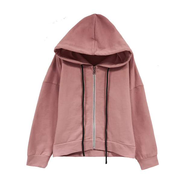 Felpa zip con cappuccio girl tinto enzimi rosa