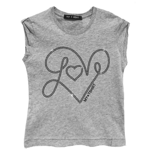 T-shirt malfile' grafica girl love strass glitter grig