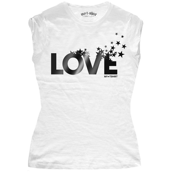 T-shirt malfile' grafica girl love and stars lamina bia