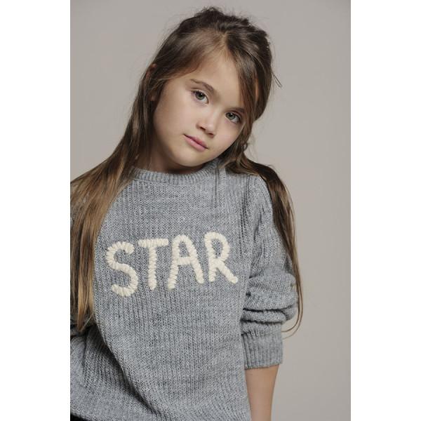 """Maglia ml ricamofilo lana """"star"""" grigio medio mel"""