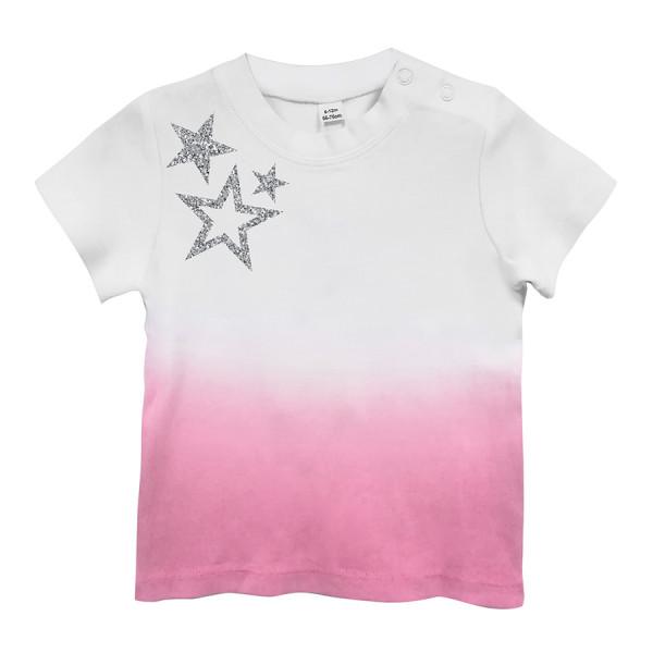 T-shirt baby m/csfumata st. stars glitter bianco/fuxia
